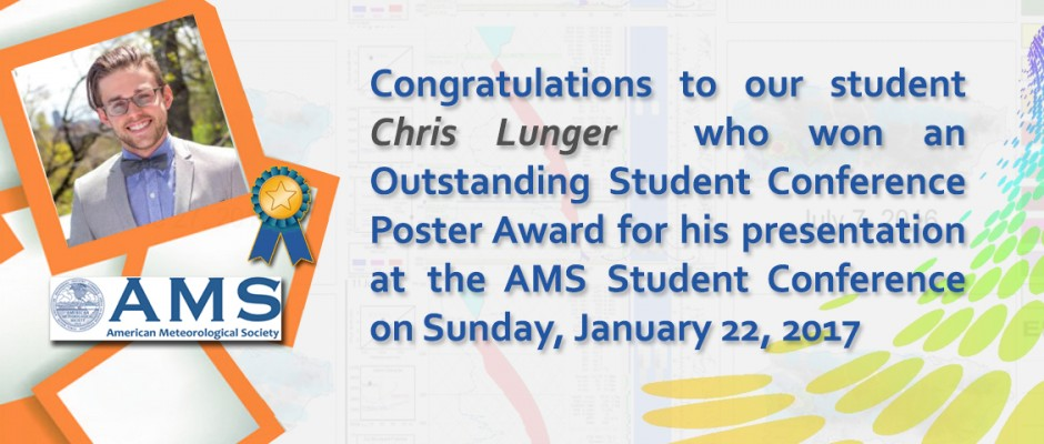 Chris Lunger won an Outstanding Student Conference Poster Award